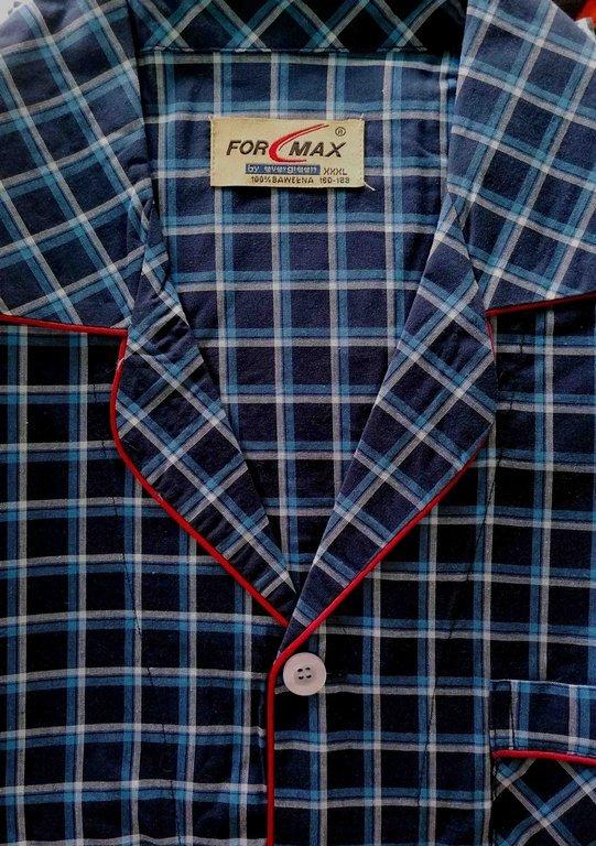 piżama męska rozpinana KRATKA GRANAT M-5XL