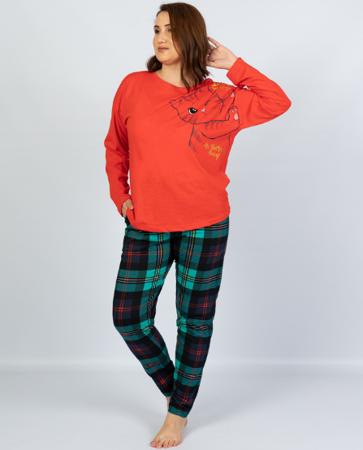 piżama damska KICI KICI czerwień/kratka 2XL/48