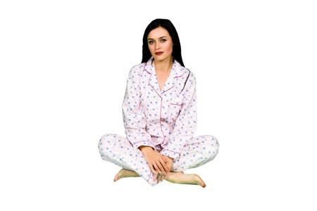 piżama damska tradycyjna FLANELOWA RÓŻ M-XXXL
