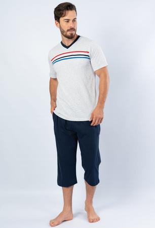 piżama męska 3 PASKI kr. ręk.+ 3/4 spodnie M-XXL